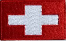 Switzerland Flag Small Iron On / Sew On Patch Badge 6 x 3.5cm Suisse Schweiz