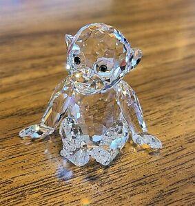 Swarovski Crystal Sitting Chimpanzee / Monkey Figurine, w/ Iridescent Eyes, Box
