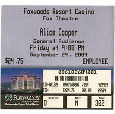 ALICE COOPER Concert Ticket Stub MASHANTUCKET CT 9/24/04 FOXWOODS RESORT CASINO