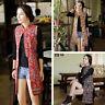 Ladies Ethnic Floral Long Gilet Waistcoat Mandarin Collar Sleeveless Jacket Tops