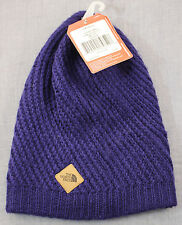 THE NORTH FACE Womens Blue Leather Logo Soft Winter Beanie Hat NWT 1 Size $35