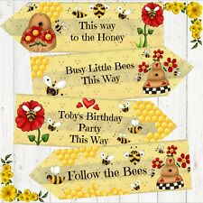 Set of 4 Personalised Busy Bumble Honey Bee Large Party Decoration Arrows