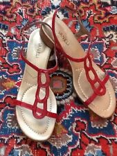 Vaneli Red Patent Leather Flat T-Strap Sandals 9M NWOB