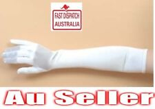 Long WHITE SATIN 1920's Elbow Length Evening Gloves 20's Costume Accessory