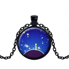 Wholesale Cabochon Glass Black  Chain Pendant Necklace,The Little Prince /145