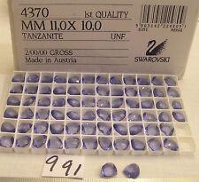12 Vtg 11x10mm Triangle Swarovski Crystal Tanzanite Rhinestone Jewelry Repair +