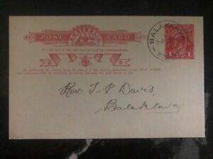 1918 Balaklava South Australia Postal Stationary Missionary Cover Domestic Used