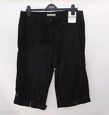 "M&S Size 12 Soft Cotton Cropped Crop Roll Up Trousers Bnwt Black 15""L"