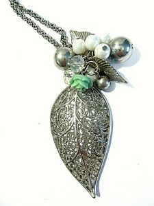 LEAF NECKLACE OPEN WORK WITH BAUBLES BEADS DANGLE PENDANT