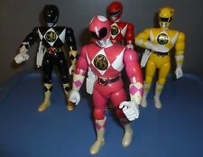 """POWER RANGERS BANDAI 1994 SET OF FOUR 8"""" FIGURES COMPLETE/RED/PINK/YELLOW/BLACK!"""