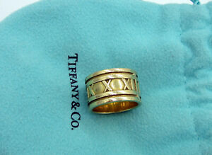 Tiffany & Co Vintage 1995 Italy 18k Yellow Gold 12 MM Wide Atlas Size 5.5 Ring