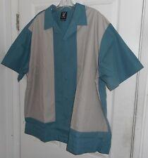 New! Hilton 50's-60's Style Shirt Jac! Aqua & Khaki Camp Collar! Rockabilly Xxxl