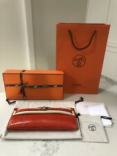 85d6c6237472 Brand New Authentic Hermes Orange Porosus Crocodile Gold Kelly Cut Clutch  Purse