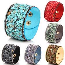 Women Punk Crystal Rhinestone Faux Leather Bracelet Bangle Wrap Wristband AU~