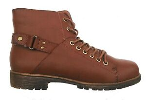 CHESTNUT WARRIOR-03 Women Lace Up Faux Leather Combat Ankle Boot Size 10