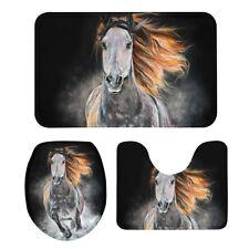 S/3 Galloped Horse Flannel Bath Mats Lid Toilet Seat Cover Pedestal Rug Custom