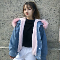 Lady Fleece Lined Denim Jacket Coat Thicken Hooded Faux Fur Collar Winter Casual