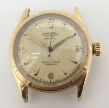 .Vintage 1953 Rolex Oyster Solid Gold Top Bubble Back Watch Ref 6084 Orig Dial