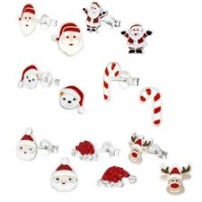 Christmas Spirit Hypoallergenic 925 Sterling Silver Stud Earrings For Kids/Girls
