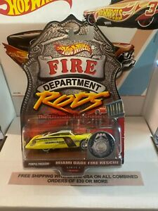 HOT WHEELS PURPLE PASSION FIRE DEPARTMENT RODS - MIAMI DADE FIRE RESCUE RODS