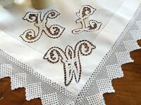 Antique White Linen and Lace Monogrammed Table Centre Traycloth Doillie