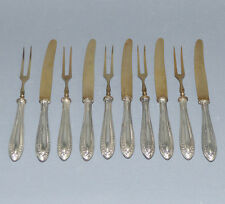 Obstbesteck für 5 Personen, 800er Silber, vergoldet, Halbmond Krone,