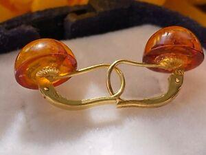 Gold 333 Ohrringe mit Bernstein, ca. 1,38 gr. / aus Nachlaß
