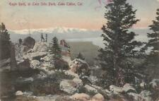 Eagle Rock at Lake Side Park, Lake Tahoe, CA Hand-Colored 1911 Vintage Postcard