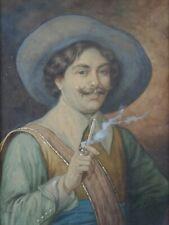 Aquarelle : représentant un gentilhomme signature fumeur pipe tabac