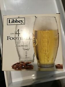 Libbey Football Shape Tumblers Beer Glasses Set of 4 23 oz  New In Box
