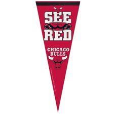 "CHICAGO BULLS SEE RED PREMIUM QUALITY PENNANT 12""X30"" BIG LOGO BANNER"