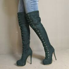 Women Fashion Over The Knee High Heel Round Toe Platform Boot Zip Stiletto Shoes