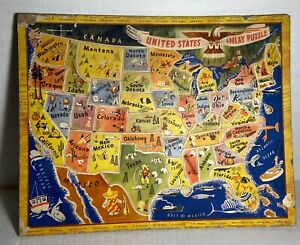 Vintage United States Inlay Puzzle MAP 1950s A.M. Walzer Co. No 125-COMPLETE! -G