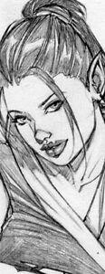 SEXY ANNE GEISHA GIRL SK#12988 FANTASY ORIGINAL PINUP GIRL ART by ALEX MIRANDA
