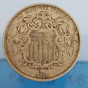 USA 5 Cents Shield Nickel 1868 (ref #27)