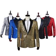 Mens Sequin Peak Lapel Suit Jacket Blazer Wedding Prom Costume Dance Show