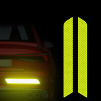 2 Pcs Reflective Safety Mark Strips Car Door Stickers Warning Tape Auto Yellow