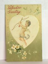 PostCard Vintage Cupid Valentine Greeting Floral Angel Posted Stamped 2-14-1911