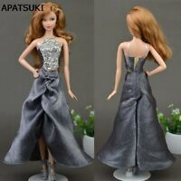 """Gray Backless Dress For 11.5"""" Doll 1/6 Party Dresses Elegant Sleeveless Clothes"""