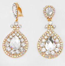 "3.5"" BiG Long Crystal Gold AB Clear Rhinestone Earrings Drag Queen CLIP ON"
