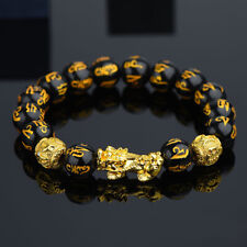 Pixiu Chinese Good Lucky Charm Feng Shui Wealth Bracelets Black Bead Jewelry