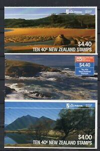 3 X NEW ZEALAND STAMP BOOKLETS 1987  AHURIRI SB43 SB 44A TOTARANUI  SB46 KATIKI
