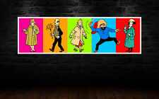 TINTIN COMIC CHARACTERS 40x12 INCHES COLORFUL POPART STYLE POSTER