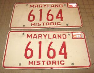 1980 Matching Pair of Maryland HISTORIC License Plates - 6164 - White w/Red
