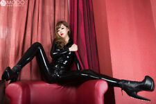 Latex Catsuit Kig Rubber Unitard Front Zip High Neck Sexy Women Latex Jumpsuit