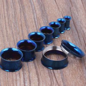 BLUE Steel Screw Ear Flesh Tunnels Piercing Stretchers Jewellery Flared TU99