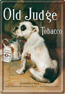 Nostalgic Art Blechpostkarte OLD JUDGE TOBACCO RAUCHENDER HUND *