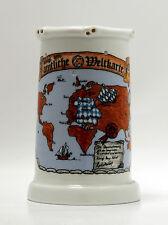 Bierkrug mit Löchern 0,6 liter, Lochkrug , Motiv Bayerische Weltkarte