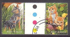 1996 PETS Canceled to order gutter pair stamps.Dogs,cats.