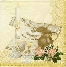 1 Paket ServiettenINapkins Geburt/Taufe  cream gold